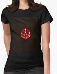 Dice isolated on black background Womens Fitted T-Shirt