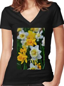 White and Yellow Daffodils in the Abstract Women's Fitted V-Neck T-Shirt