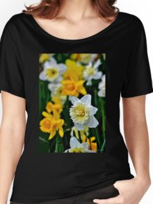 White and Yellow Daffodils in the Abstract Women's Relaxed Fit T-Shirt