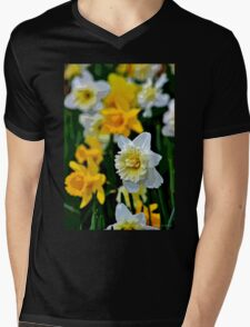 White and Yellow Daffodils in the Abstract Mens V-Neck T-Shirt