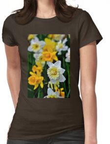 White and Yellow Daffodils in the Abstract Womens Fitted T-Shirt