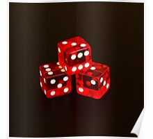 Dice isolated on black background Poster
