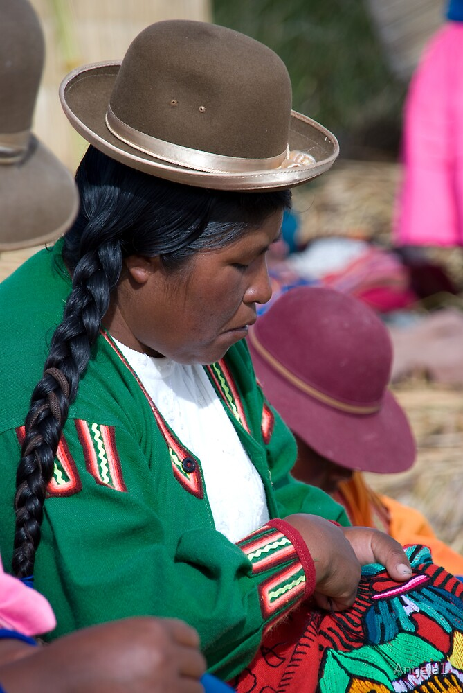 Peruvian lady sewing by Angela1