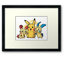 Minum, Pikachu & Plusle : Pokemon Framed Print