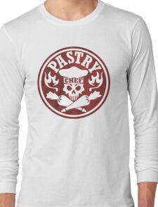 Pastry Chef Skull Logo Red Long Sleeve T-Shirt