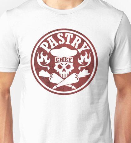 Pastry Chef Skull Logo Red Unisex T-Shirt
