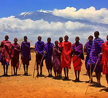 Kilimanjaro and Masai villagers. Kenya, Africa. by photosecosse /barbara jones