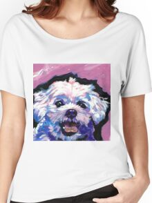 Maltese Dog Bright colorful pop dog art Women's Relaxed Fit T-Shirt