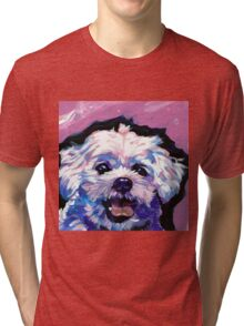 Maltese Dog Bright colorful pop dog art Tri-blend T-Shirt