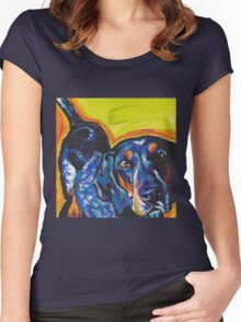 Bluetick Coonhound Dog Bright colorful pop dog art Women's Fitted Scoop T-Shirt