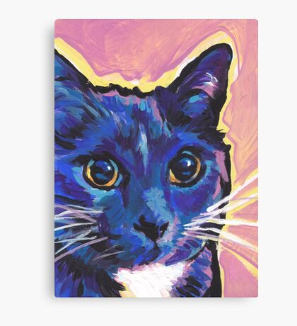 Blue Cat Bright colorful pop kitty art Canvas Print