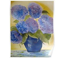 The blue hydrangeas jar Poster