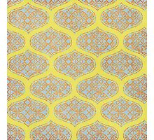Garden Charm IV:  Floral Geometric in Yellow and Blue Photographic Print