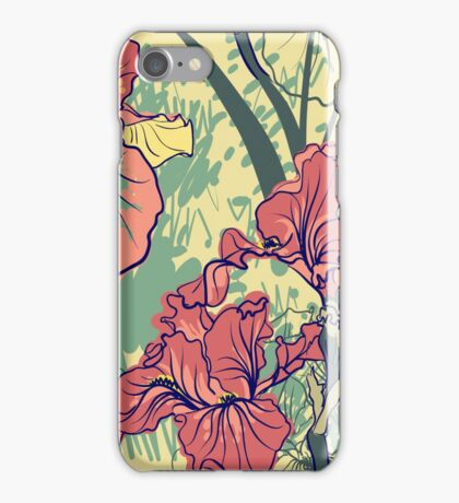 SeaSeamless pattern with decorative  iris flower in retro colors. mless pattern with decorative  iris flower in retro colors.  iPhone Case/Skin