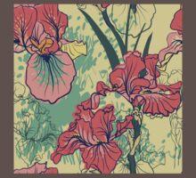 SeaSeamless pattern with decorative  iris flower in retro colors. mless pattern with decorative  iris flower in retro colors.  One Piece - Short Sleeve