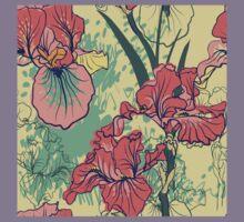 SeaSeamless pattern with decorative  iris flower in retro colors. mless pattern with decorative  iris flower in retro colors.  Kids Tee