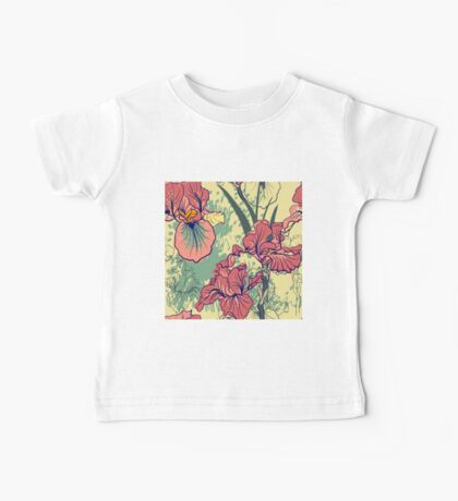 SeaSeamless pattern with decorative  iris flower in retro colors. mless pattern with decorative  iris flower in retro colors.  Baby Tee