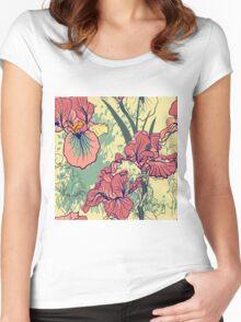 SeaSeamless pattern with decorative  iris flower in retro colors. mless pattern with decorative  iris flower in retro colors.  Women's Fitted Scoop T-Shirt