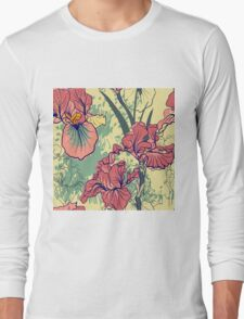 SeaSeamless pattern with decorative  iris flower in retro colors. mless pattern with decorative  iris flower in retro colors.  Long Sleeve T-Shirt