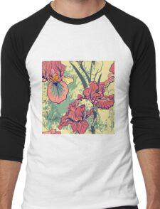 SeaSeamless pattern with decorative  iris flower in retro colors. mless pattern with decorative  iris flower in retro colors.  Men's Baseball ¾ T-Shirt
