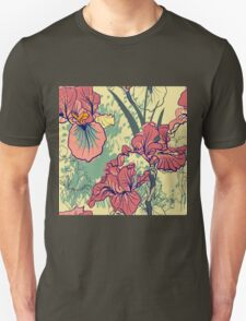 SeaSeamless pattern with decorative  iris flower in retro colors. mless pattern with decorative  iris flower in retro colors.  T-Shirt