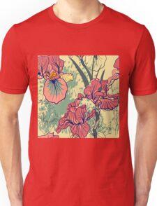 SeaSeamless pattern with decorative  iris flower in retro colors. mless pattern with decorative  iris flower in retro colors.  Unisex T-Shirt