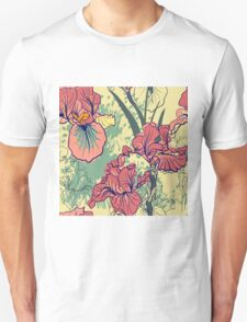 SeaSeamless pattern with decorative  iris flower in retro colors. mless pattern with decorative  iris flower in retro colors.  T-Shirt