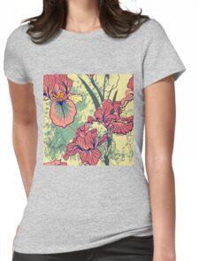 SeaSeamless pattern with decorative  iris flower in retro colors. mless pattern with decorative  iris flower in retro colors.  Womens Fitted T-Shirt