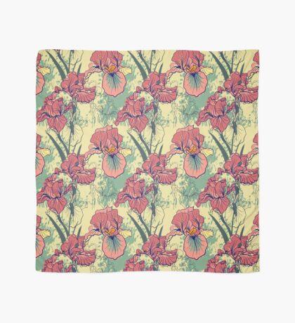 SeaSeamless pattern with decorative  iris flower in retro colors. mless pattern with decorative  iris flower in retro colors.  Scarf