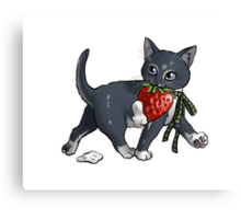 Strawberries and Cream Thief Kitten Tea Party Canvas Print