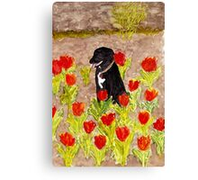 Black Dog in Red Tulips Canvas Print