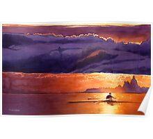 """Racing the Sun"" Venice Watercolor Poster"