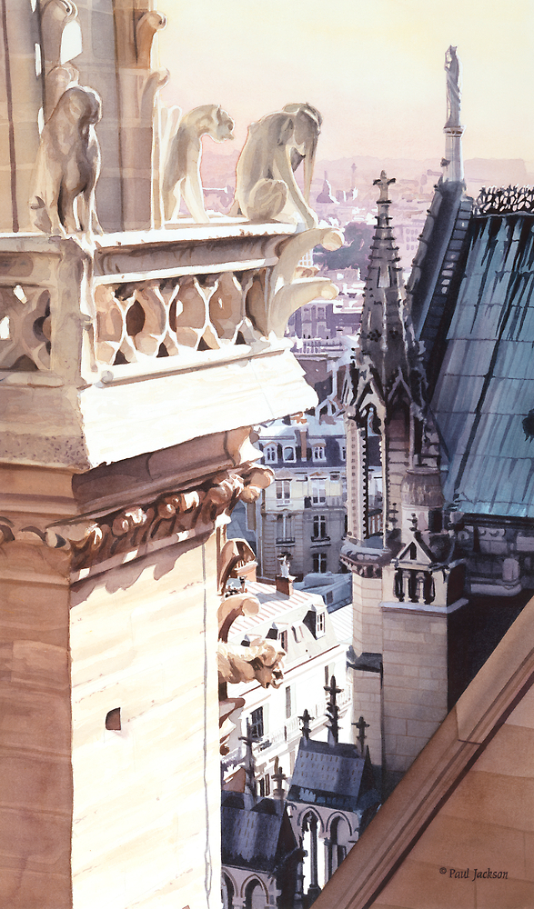 """""""Aspire"""" Cathedral of Notre Dame Watercolor by Paul Jackson"""