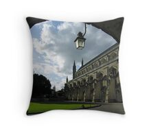 South side of Winchester Cathdral's great Nave, seen from the Slype, southern England Throw Pillow