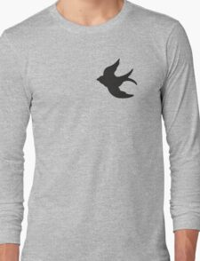 Black Flying Swallow, Turquoise Sky Long Sleeve T-Shirt