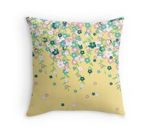 Wafting Spring Flower Vines in Fluttershy Colors Throw Pillow