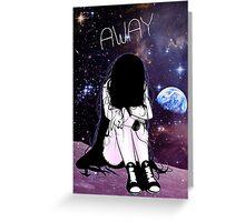 Anime Sad girl gone away on the Moon Greeting Card