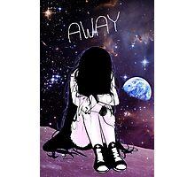 Anime Sad girl gone away on the Moon Photographic Print