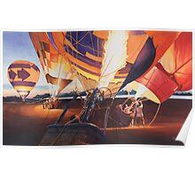 """""""Fireflies"""" Hot Air Balloons Watercolor Poster"""