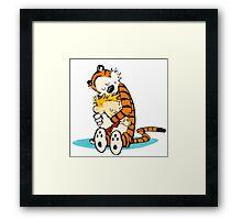 Calvi and hobbes Hugs Framed Print