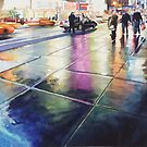 &quot;Neon Rain&quot; New York Watercolor by Paul Jackson