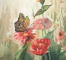 Zinnias with a Monarch by jimmie
