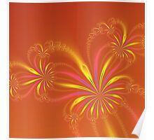 Gold Orange and Pink Abstract Flowers Poster