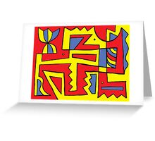 Rives Abstract Expression Yellow Red Blue Greeting Card