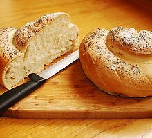 White Swirl Bread Loaf with Knife 5 by jojobob