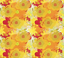 Garden Charm IV:  Floral Watercolor in Bright yellow, orange and red by LSWalthery