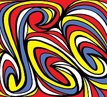Yara Abstract Expression Yellow Red Blue by martygraw