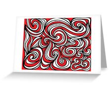 Belmont Abstract Expression Red White Black Greeting Card