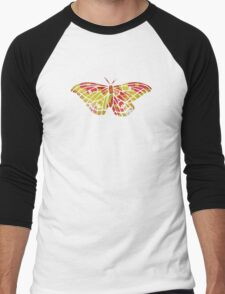 Garden Charm IV:  Floral Watercolor Bright and Bold Men's Baseball ¾ T-Shirt