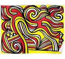 Giorgianni Abstract Expression Yellow Red Black Poster